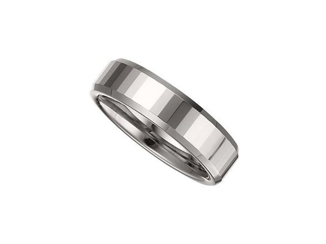 6.3MM Tungsten Faceted Beveled Band Size 8