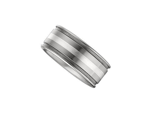 10MM Dura Tungsten Grooved Band With Sterling Silver Inlay Size 9