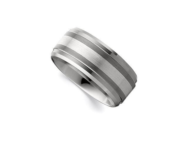 10MM Dura Tungsten Ridged Beveled Satin Band With Sterling Silver Inlay Size 9.5