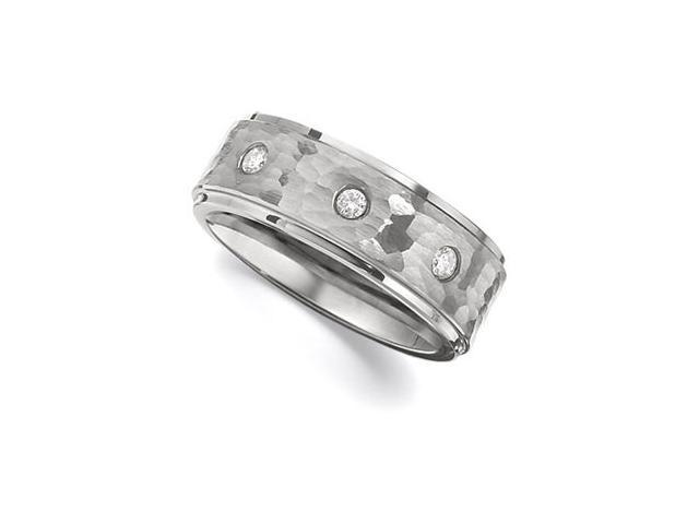 8.3MM Dura Tungsten Ridged Diamond Band With Bark Finish Inlay Size 11