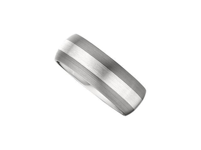 8.3MM Dura Tungsten Domed Satin Band With Sterling Silver Inlay Size 8