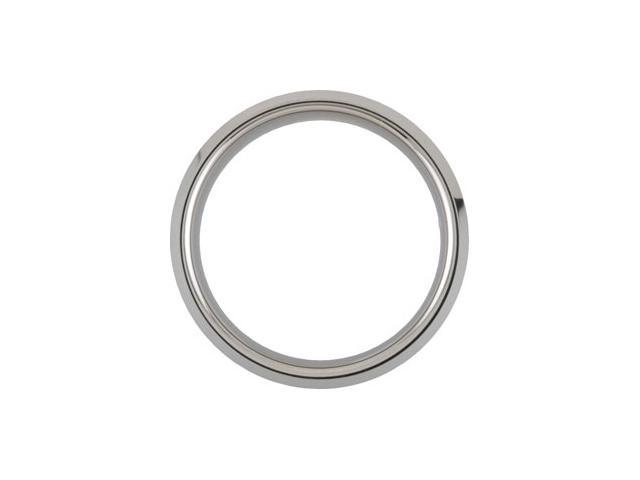 8.3MM Dura Tungsten Beveled Band With Sterling Silver Inlay Size 8.5