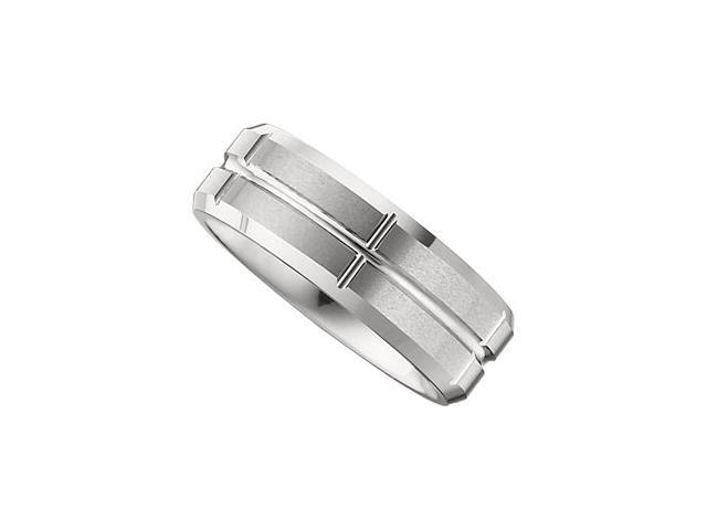 8.3MM Dura Tungsten Beveled Satin Grooved Band Size 9.5