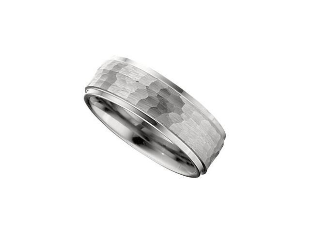 Dura Tungsten Ridged Band With Bark Finish Inlay Size 8.5