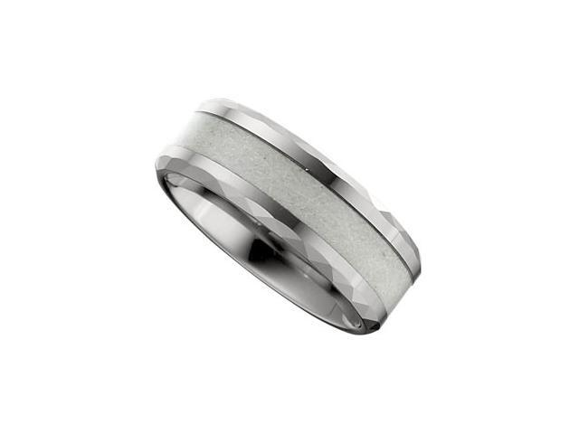 8.3MM Dura Tungsten Beveled Band With Carbon Fiber Center Size 11