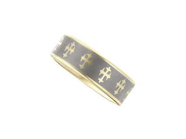 8.3MM Dura Tungsten Gold IMMersion Plated Band With Lasered Crosses Size 7