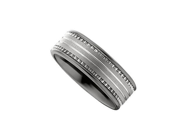 Dura Tungsten & Ceramic Couture Band With Inlay Size 10