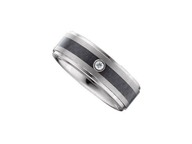 8.3MM Dura Tungsten Ridged Band With Carbon Fiber Center Size 11