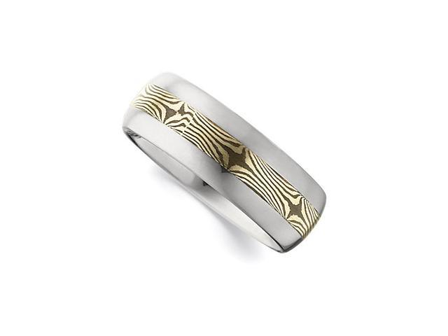 8.3MM Dura Tungsten Domed Band With 14Kt Yellow Shakudo Mokume Gane Inlay Size 8