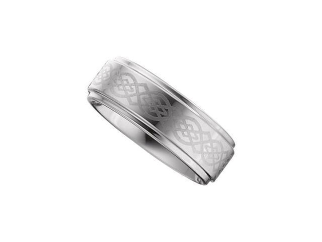 8.3MM Dura Tungsten Ridged Band With Grey Laser Design Size 13