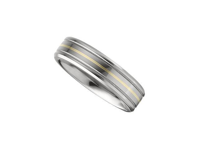 6.3MM Dura Tungsten Grooved Band With 14Kt Yellow Inlay Size 9.5