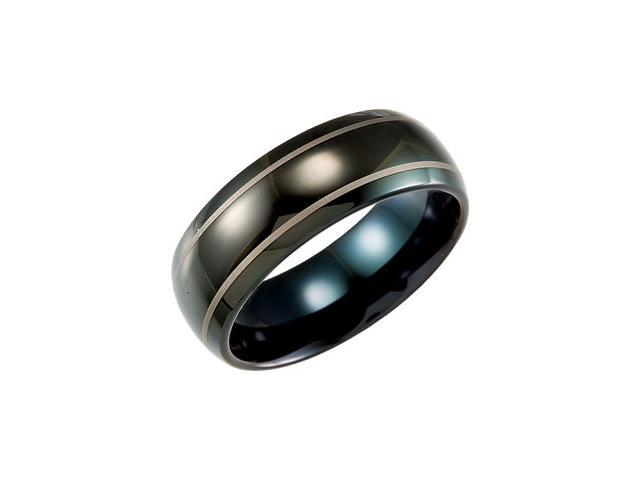 8.3MM Dura Tungsten Black IMMersion Plated Band With Lasered Stripes Size 10.5