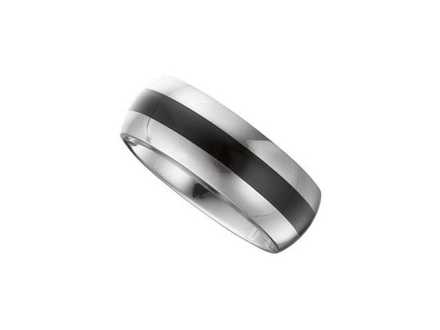 8.3MM Dura Tungsten Domed Band With Black Enamel Size 7.5