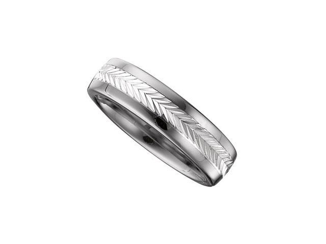 6.3MM Dura Tungsten Swiss Cut Sterling Silver Inlay Band Size 11.5