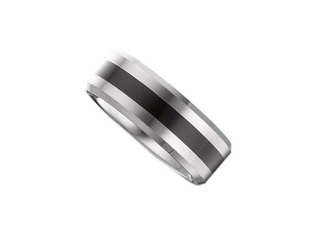 8.3MM Dura Tungsten Flat Band With Black Enamel Size 10.5