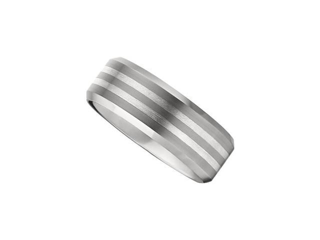 8.3MM Dura Tungsten Beveled Satin Band With Sterling Silver Inlays Size 9.5
