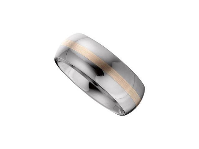 8.3MM Dura Tungsten Domed Band With 14Kt Rose Inlay Size 9.5
