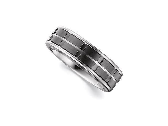 7.3MM Dura Tungsten Band With Black Ceramic Inlay Size 11.5