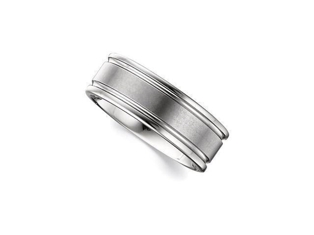 8.3MM Dura Tungsten Grooved Band With Satin Center Size 10