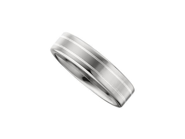 6.3MM Dura Tungsten Flat Band With Sterling Silver Inlay Size 7.5