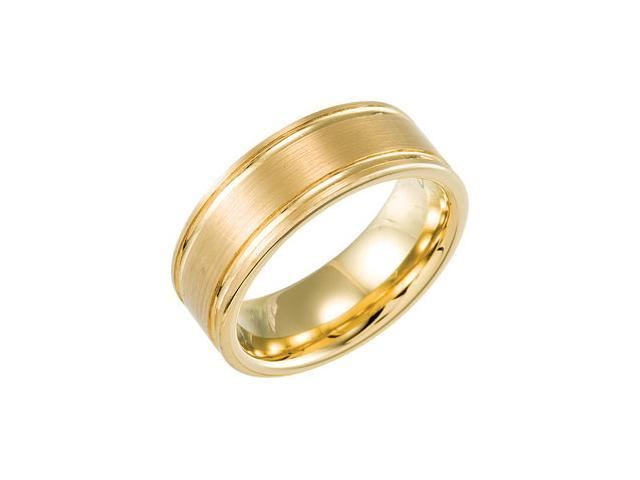 8.3MM Dura Tungsten Gold IMMersion Plated Beveled Satin Band Size 6