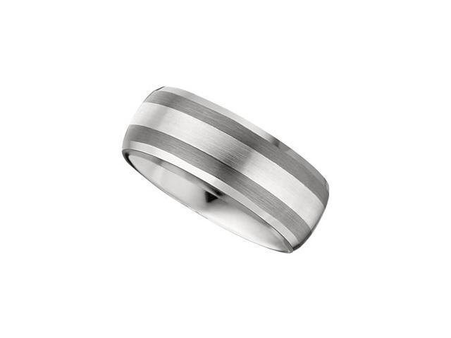 8.3MM Dura Tungsten Slight Domed Beveled Band With Sterling Silver Inlay Size 10