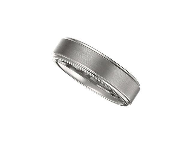 6.3MM Dura Tungsten Ridged Band With Satin Center Size 7.5