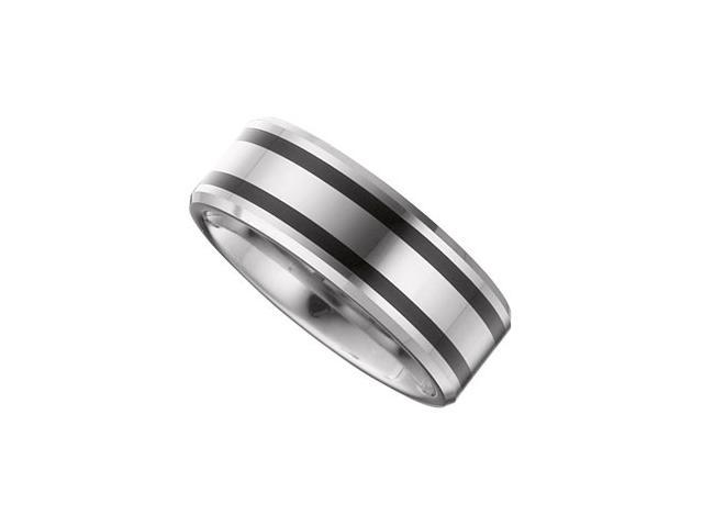 8.3MM Dura Tungsten Beveled Band With Black Enamel Size 10.5