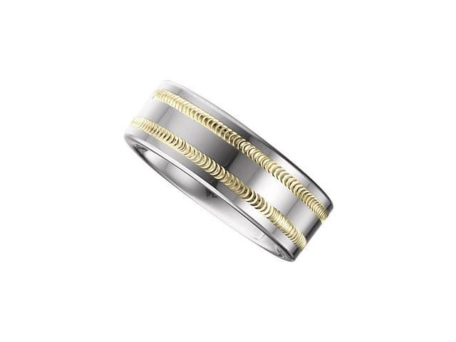 8.3MM Dura Tungsten Band With Diamond Cut 14Kt Yellow Gold Inlay Size 8