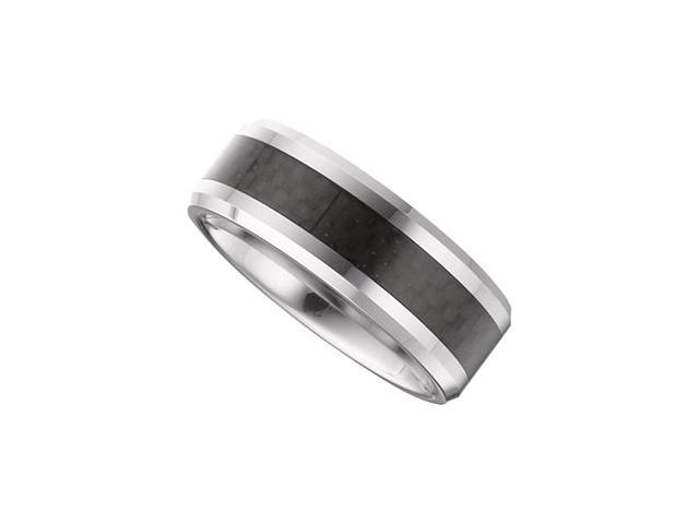 8.3MM Dura Tungsten Beveled Band With Black Carbon Fiber Center Size 10
