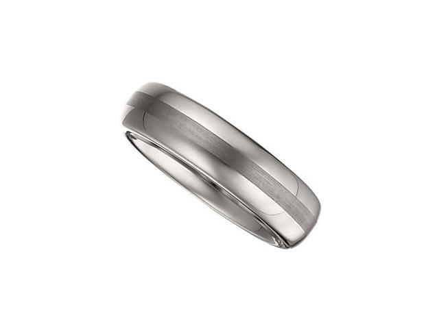 6.3MM Dura Tungsten Domed Band With Satin Center Size 8.5