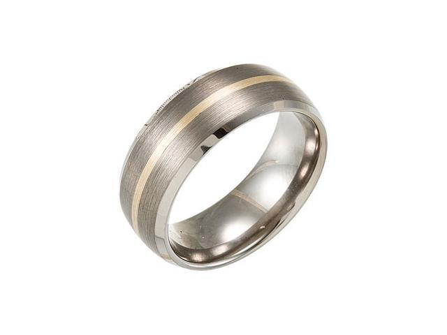 8.3MM Dura Tungsten Domed Beveled Satin Band With 14Kt Yellow Inlay Size 12