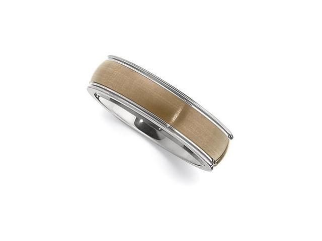 6.3MM Dura Tungsten Domed Band With Chocolate IMMersion Plated Center Size 10.5