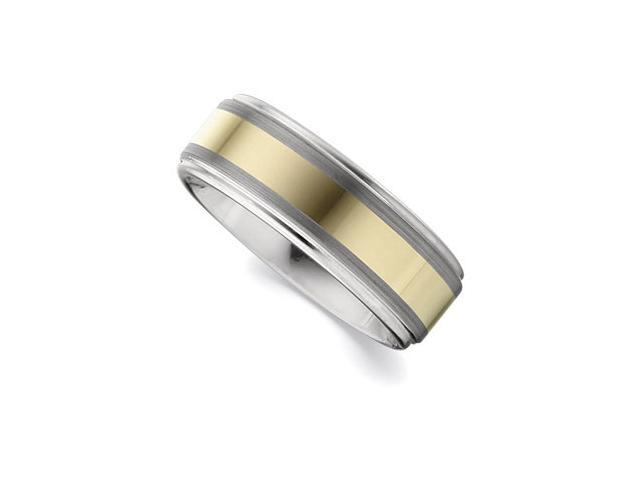 8.3MM Dura Tungsten Ridged Band With Gold IMMerse Plating Inlay Size 12.5