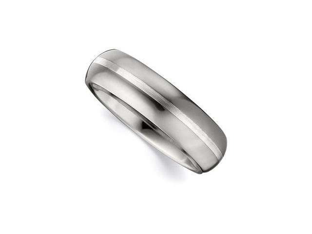6.3MM Dura Tungsten Domed Satin Band With Sterling Silver Inlay Size 10