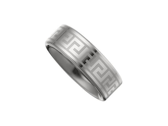 8.3MM Dura Tungsten Lasered Greek Key Flat Band Size 8