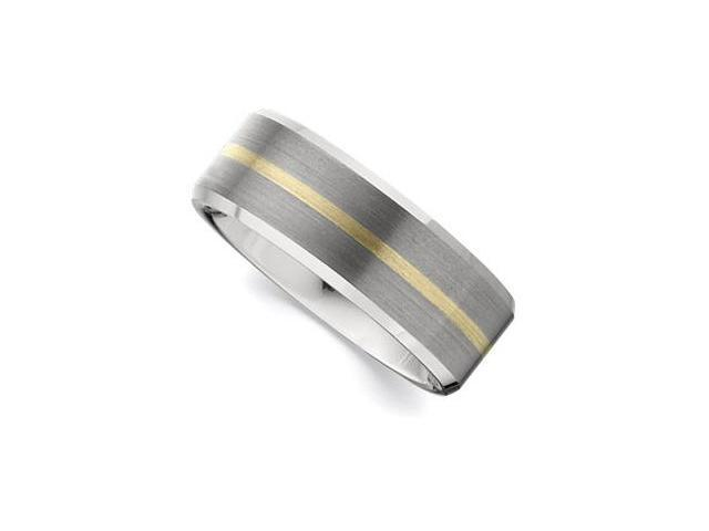 8.3MM Dura Tungsten Beveled Band With 14Kt Yellow Inlay Size 11.5