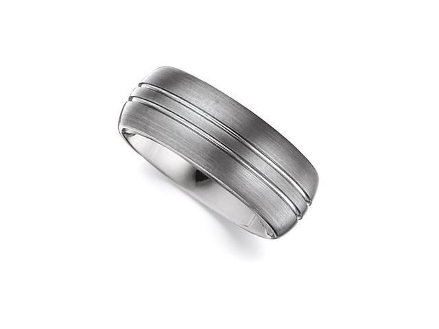 8.3MM Dura Tungsten Satin Grooved Domed Band Size 7