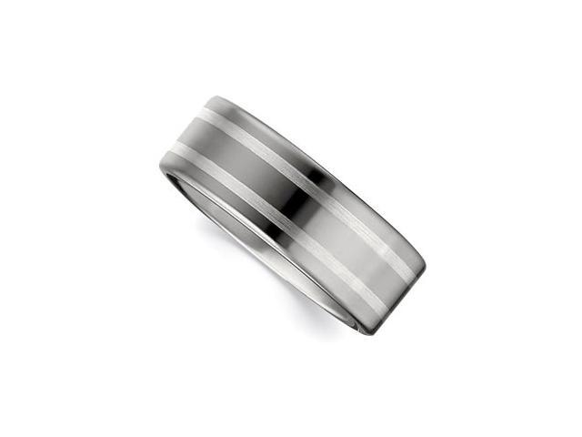 Dura Tungsten & Sterling Silver Flat Band With Silver Inlay Size 8