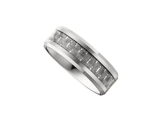 8.3MM Dura Tungsten Beveled Band With Carbon Fiber Center  Size 10