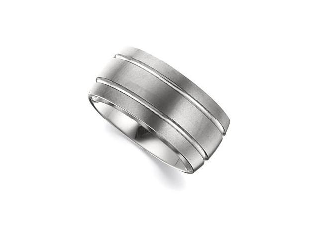 10MM Dura Tungsten Grooved Satin Slight Domed Band Size 9.5