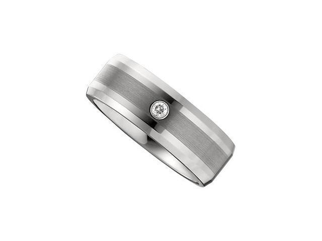 8.3MM Dura Tungsten Diamond Beveled Band With Satin Center Size 11.5