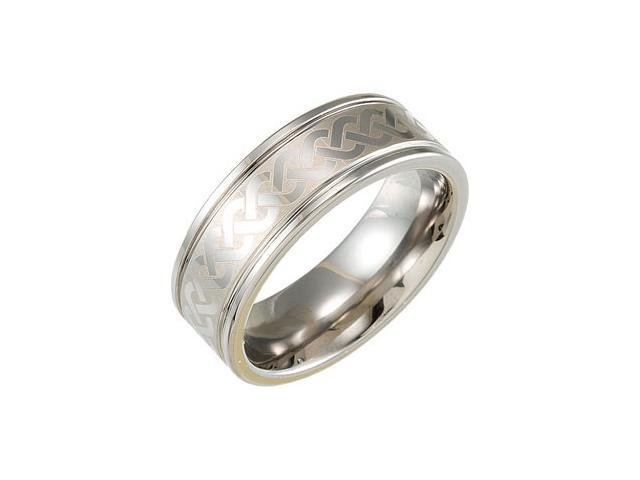 8.3MM Dura Tungsten Grooved Band With Grey Laser Design Size 12.5