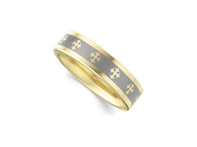 6.3MM Dura Tungsten Gold IMMersion Plated Flat Band With Lasered Crosses Size 10