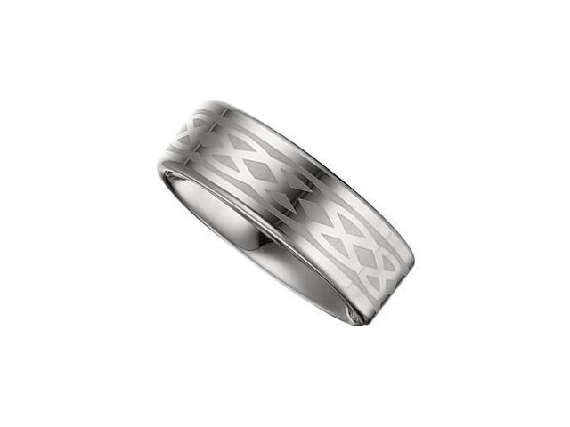 8.3MM Dura Tungsten Lasered Design Flat Band Size 10