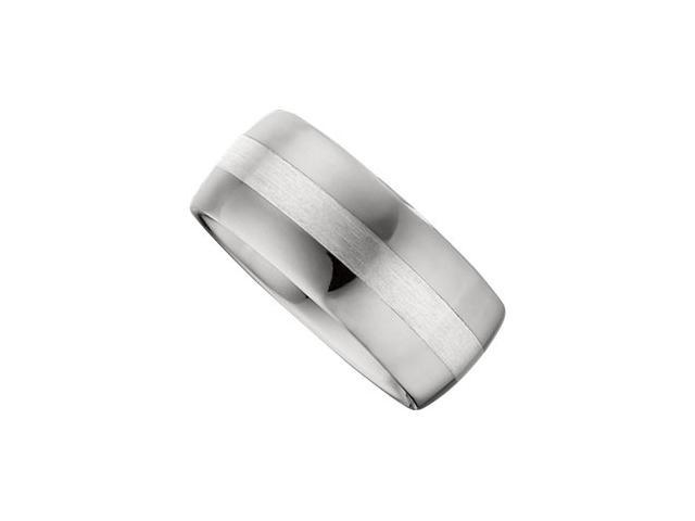 10MM Dura Tungsten Domed Band With Sterling Silver Inlay Size 10.5