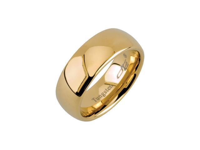 8.3MM Dura Tungsten Gold IMMersion Plated Domed Band Size 8