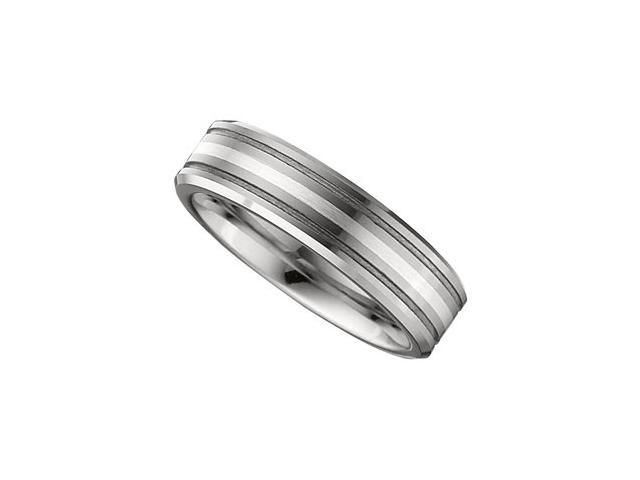 6.3MM Dura Tungsten Grooved Satin Band With Sterling Silver Inlay Size 9.5
