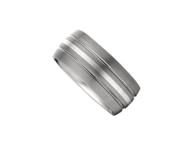 10MM Dura Tungsten Slight Domed Satin Band With Sterling Silver Inlay Size 13.5