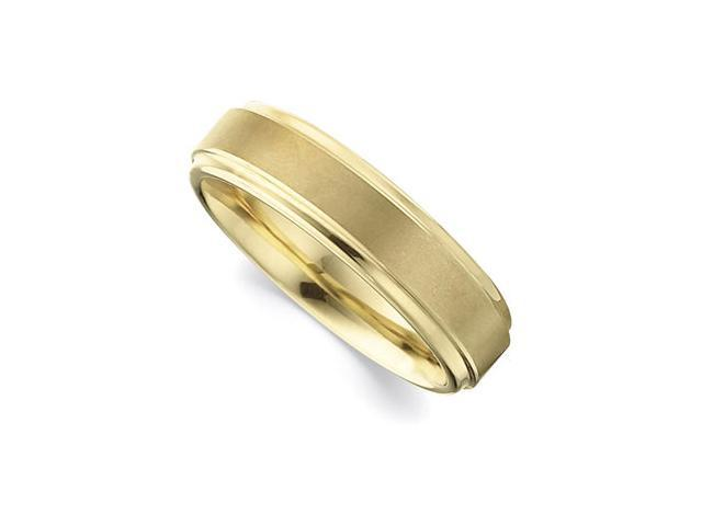 6.3MM Dura Tungsten Gold IMMersion Plated Ridged Band  Size 6